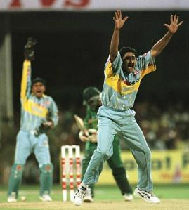 Kumble in action against Pakistan in 1996 World Cup