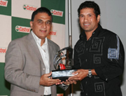 The Two Greats Together : Sunil Gavaskar and Sachin Tendulkar. Incidently both of them are know as the Little Masters!!!